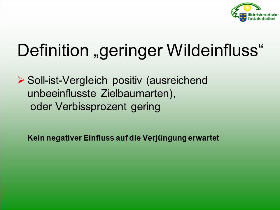 """Definition """"geringer Wildeinfluss  Soll-ist-Vergleich positiv (ausreichend unbeeinflusste Zielbaumarten), oder Verbissprozent gering Kein negativer Einfluss auf die Verjüngung erwartet"""