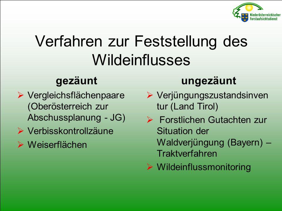 Verfahren zur Feststellung des Wildeinflusses gezäunt  Vergleichsflächenpaare (Oberösterreich zur Abschussplanung - JG)  Verbisskontrollzäune  Weiserflächen ungezäunt  Verjüngungszustandsinven tur (Land Tirol)  Forstlichen Gutachten zur Situation der Waldverjüngung (Bayern) – Traktverfahren  Wildeinflussmonitoring