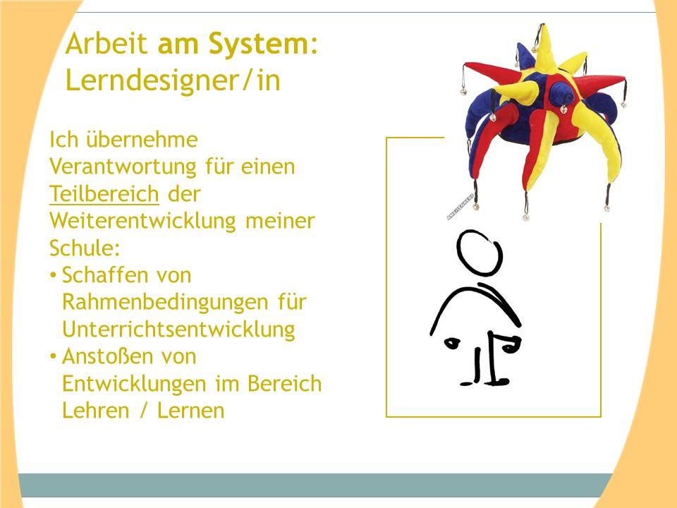 Arbeit am System: Lerndesigner/in Ich übernehme Verantwortung für einen Teilbereich der Weiterentwicklung meiner Schule: Schaffen von Rahmenbedingungen für Unterrichtsentwicklung Anstoßen von Entwicklungen im Bereich Lehren / Lernen