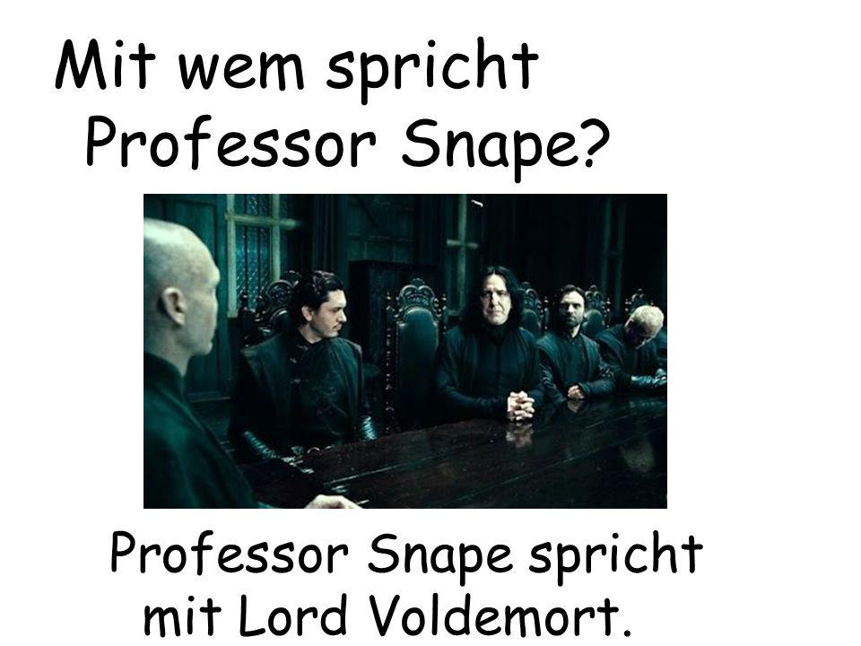 Professor Snape spricht mit Lord Voldemort. Mit wem spricht Professor Snape?