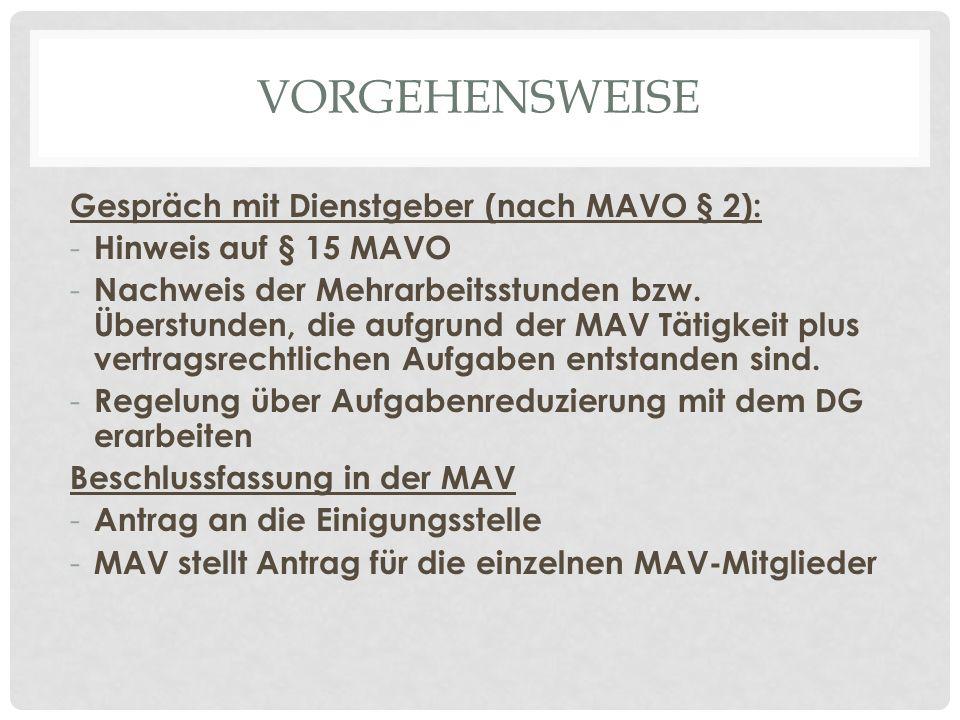 VORGEHENSWEISE Gespräch mit Dienstgeber (nach MAVO § 2): - Hinweis auf § 15 MAVO - Nachweis der Mehrarbeitsstunden bzw.