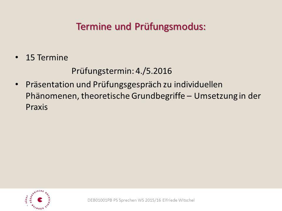Termine und Prüfungsmodus: 15 Termine Prüfungstermin: 4./5.2016 Präsentation und Prüfungsgespräch zu individuellen Phänomenen, theoretische Grundbegriffe – Umsetzung in der Praxis DEB01001PB PS Sprechen WS 2015/16 Elfriede Witschel