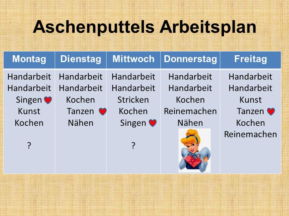 Aschenputtels Arbeitsplan MontagDienstagMittwochDonnerstagFreitag Handarbeit Singen Kunst Kochen .