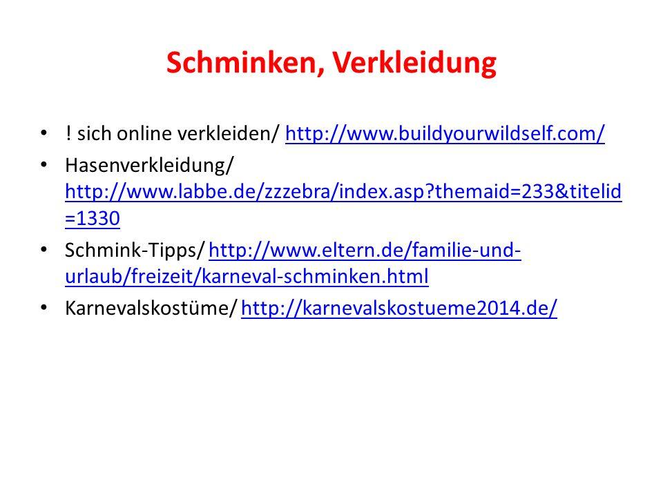 Schminken, Verkleidung ! sich online verkleiden/ http://www.buildyourwildself.com/http://www.buildyourwildself.com/ Hasenverkleidung/ http://www.labbe