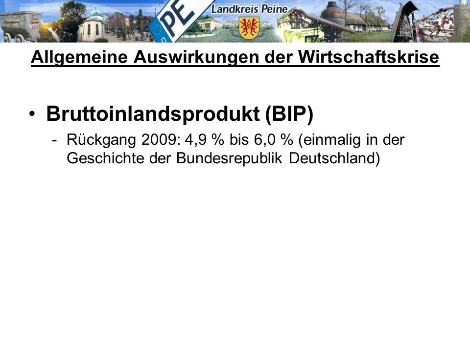 Bruttoinlandsprodukt (BIP) -Rückgang 2009: 4,9 % bis 6,0 % (einmalig in der Geschichte der Bundesrepublik Deutschland)