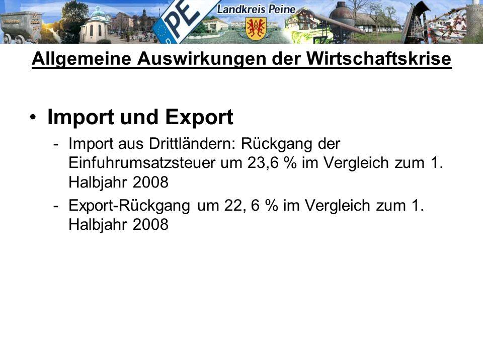 Import und Export -Import aus Drittländern: Rückgang der Einfuhrumsatzsteuer um 23,6 % im Vergleich zum 1. Halbjahr 2008 -Export-Rückgang um 22, 6 % i