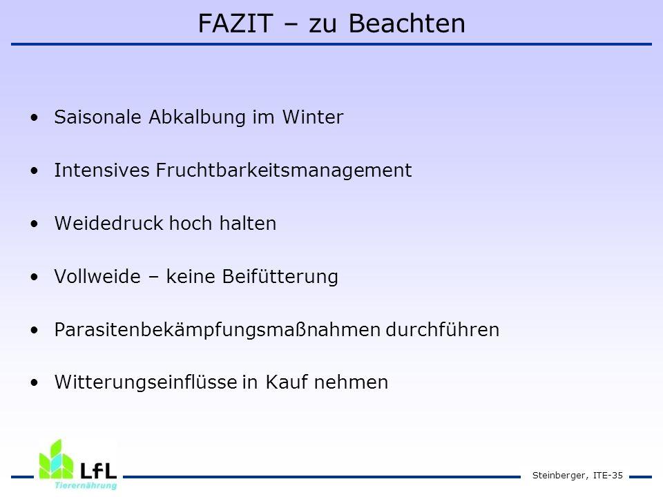 Steinberger, ITE-35 FAZIT – zu Beachten Saisonale Abkalbung im Winter Intensives Fruchtbarkeitsmanagement Weidedruck hoch halten Vollweide – keine Beifütterung Parasitenbekämpfungsmaßnahmen durchführen Witterungseinflüsse in Kauf nehmen