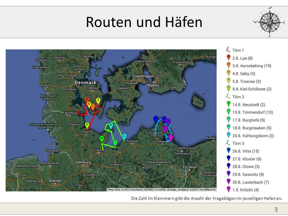 3 Routen und Häfen Die Zahl im Klammern gibt die Anzahl der Fragebögen im jeweiligen Hafen an.