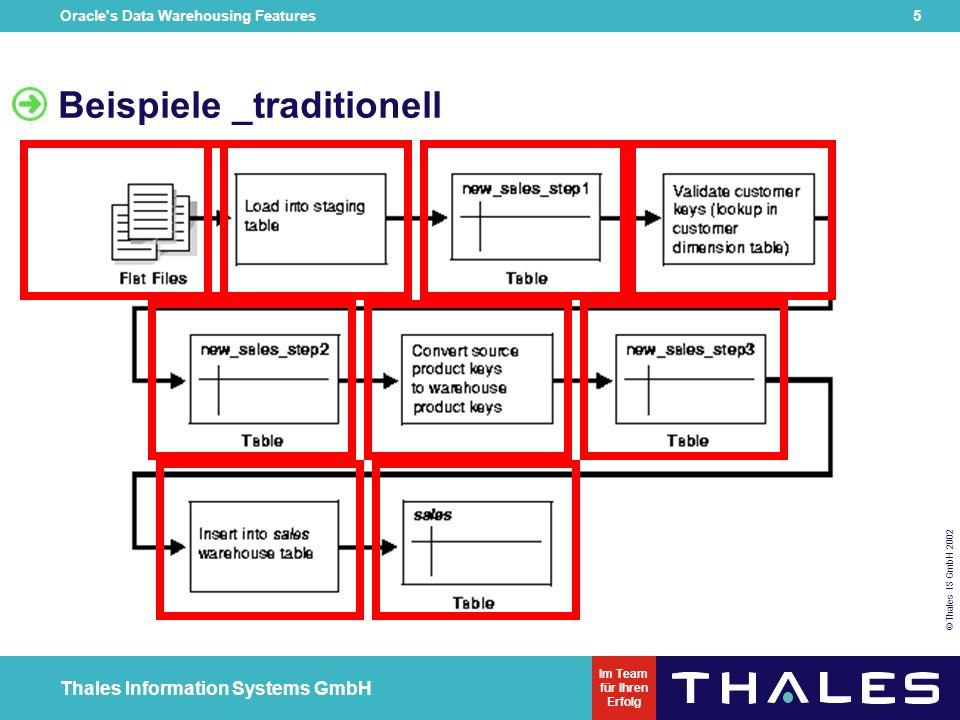 Oracle s Data Warehousing Features 5 © Thales IS GmbH 2002 Thales Information Systems GmbH Im Team für Ihren Erfolg Beispiele _traditionell