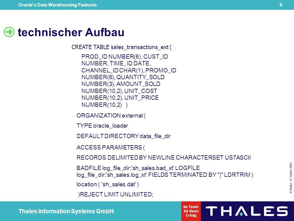 Oracle s Data Warehousing Features 19 © Thales IS GmbH 2002 Thales Information Systems GmbH Im Team für Ihren Erfolg Beispiel