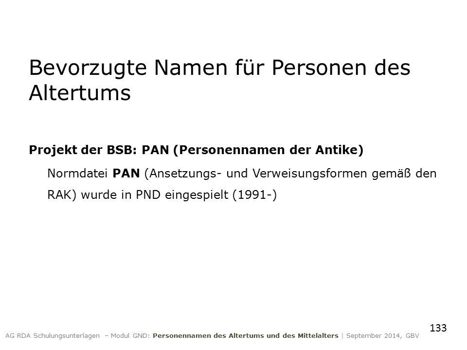 Bevorzugte Namen für Personen des Altertums Projekt der BSB: PAN (Personennamen der Antike) Normdatei PAN (Ansetzungs- und Verweisungsformen gemäß den