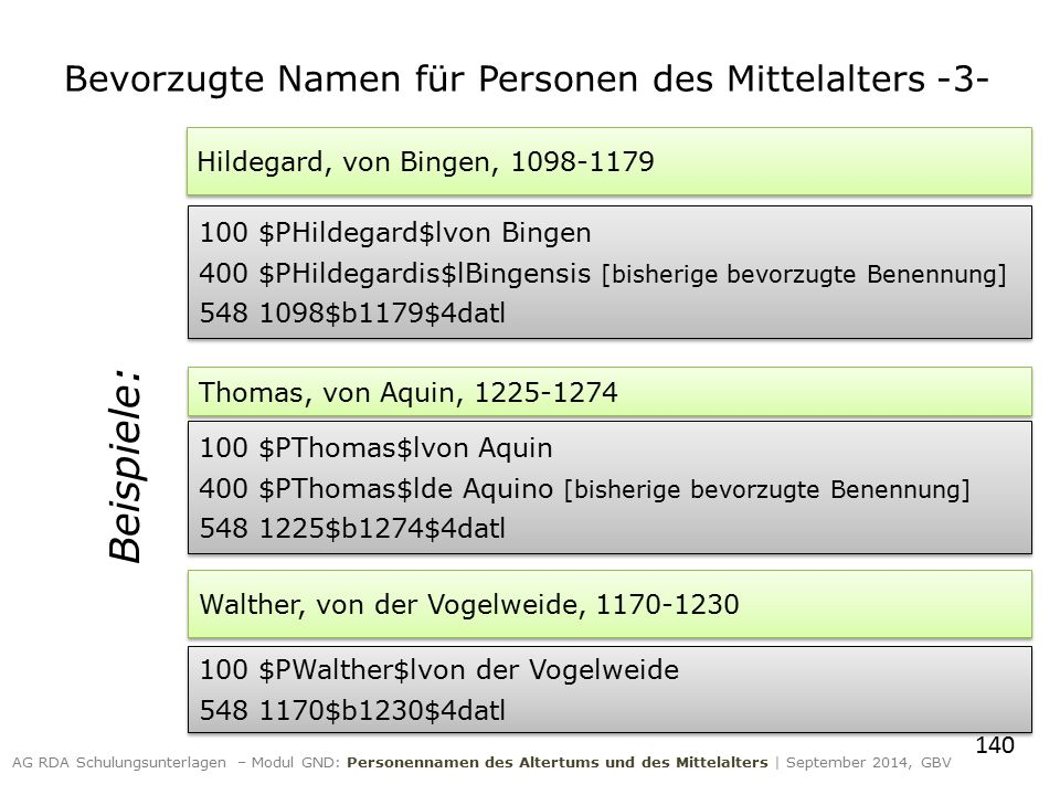 140 AG RDA Schulungsunterlagen – Modul GND: Personennamen des Altertums und des Mittelalters | September 2014, GBV Hildegard, von Bingen, 1098-1179 10