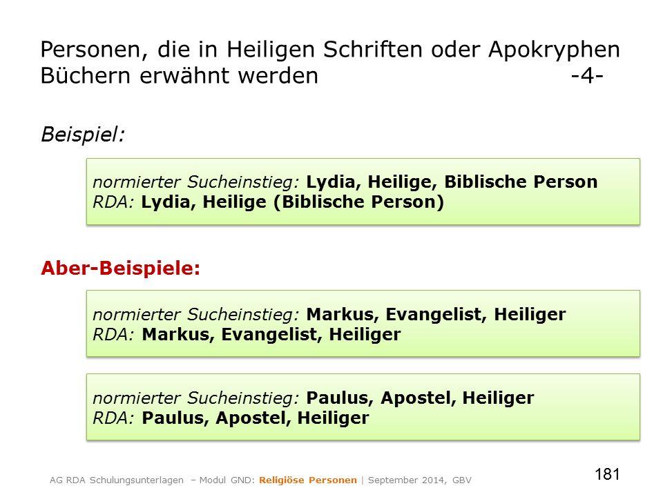 Beispiel: Aber-Beispiele: 181 Personen, die in Heiligen Schriften oder Apokryphen Büchern erwähnt werden-4- normierter Sucheinstieg: Lydia, Heilige, B
