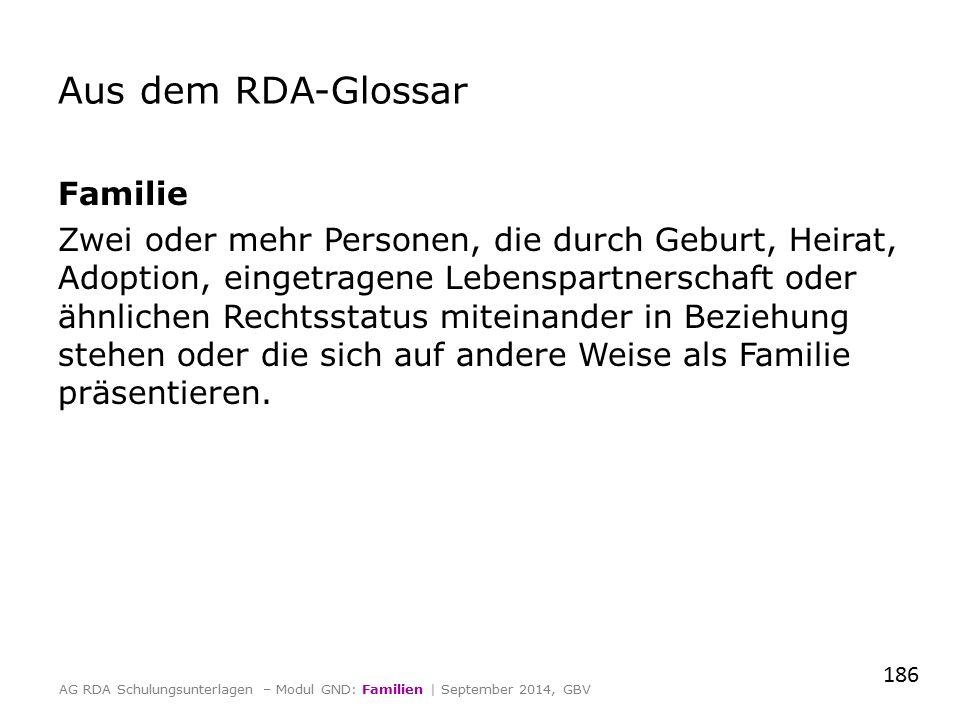 Aus dem RDA-Glossar Familie Zwei oder mehr Personen, die durch Geburt, Heirat, Adoption, eingetragene Lebenspartnerschaft oder ähnlichen Rechtsstatus