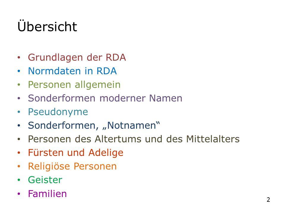 """Übersicht Grundlagen der RDA Normdaten in RDA Personen allgemein Sonderformen moderner Namen Pseudonyme Sonderformen, """"Notnamen"""" Personen des Altertum"""