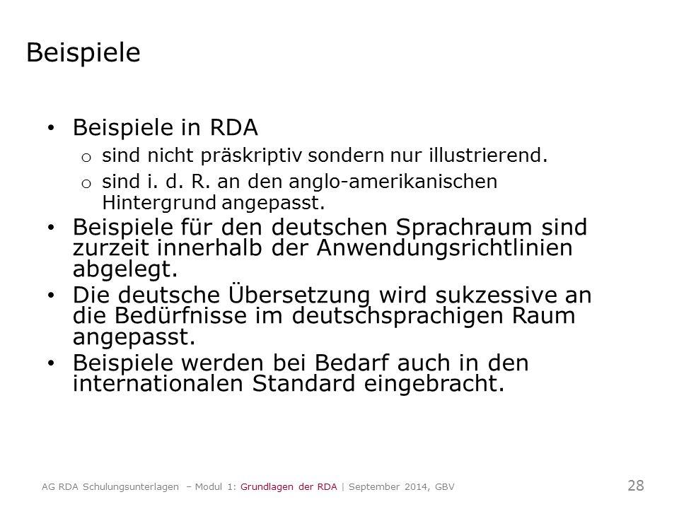 Beispiele Beispiele in RDA o sind nicht präskriptiv sondern nur illustrierend. o sind i. d. R. an den anglo-amerikanischen Hintergrund angepasst. Beis
