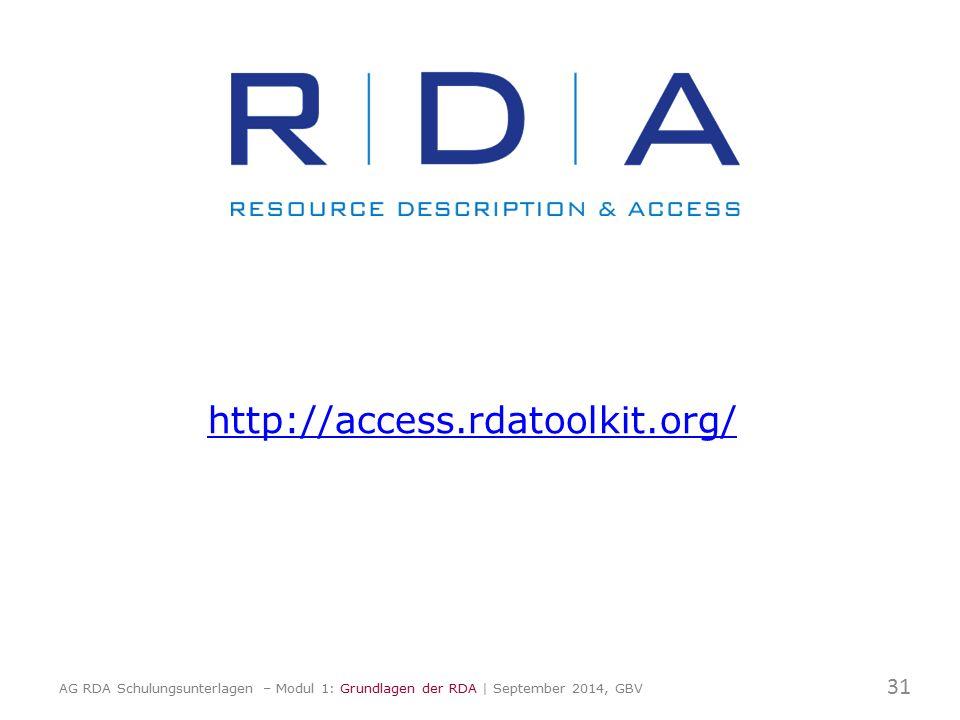 http://access.rdatoolkit.org/ 31 AG RDA Schulungsunterlagen – Modul 1: Grundlagen der RDA | September 2014, GBV