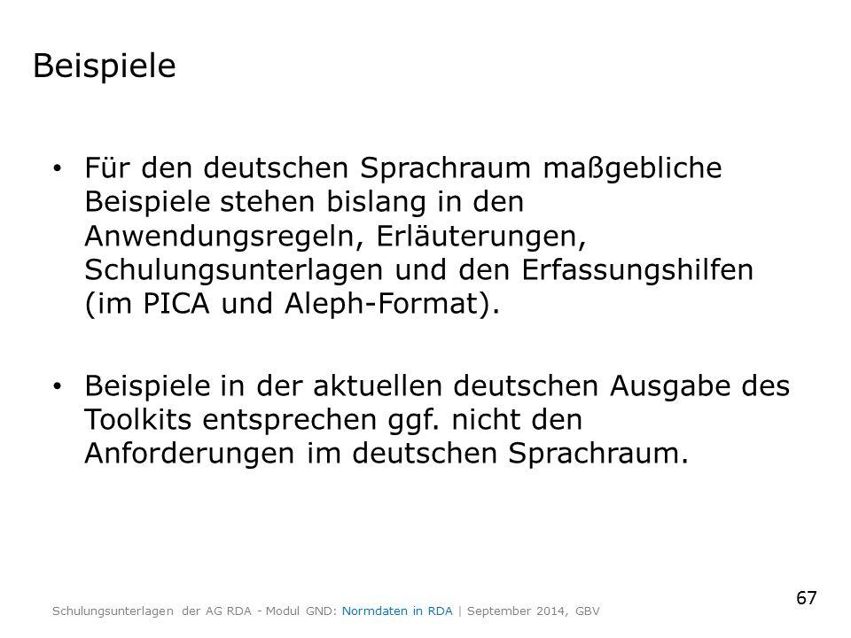 Beispiele Für den deutschen Sprachraum maßgebliche Beispiele stehen bislang in den Anwendungsregeln, Erläuterungen, Schulungsunterlagen und den Erfass