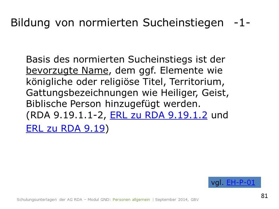 Bildung von normierten Sucheinstiegen-1- Basis des normierten Sucheinstiegs ist der bevorzugte Name, dem ggf.
