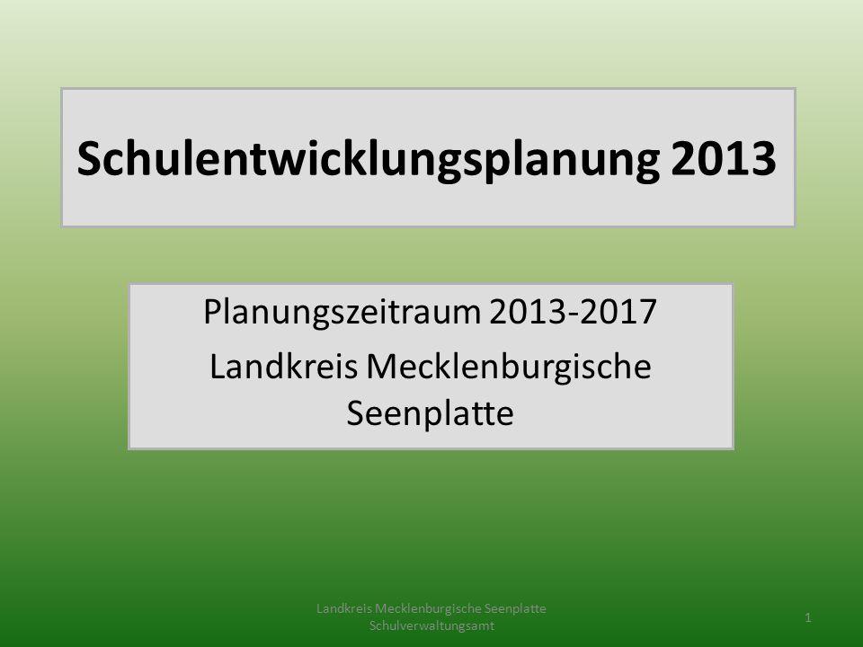 Schulentwicklungsplanung 2013 Planungszeitraum 2013-2017 Landkreis Mecklenburgische Seenplatte Landkreis Mecklenburgische Seenplatte Schulverwaltungsamt 1