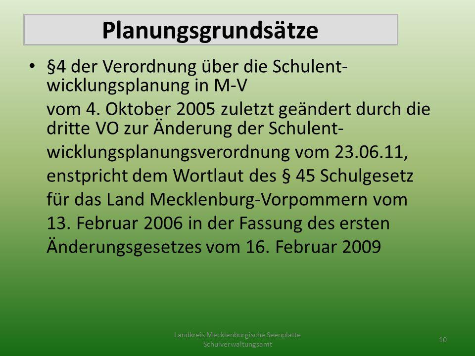 Planungsgrundsätze §4 der Verordnung über die Schulent- wicklungsplanung in M-V vom 4.