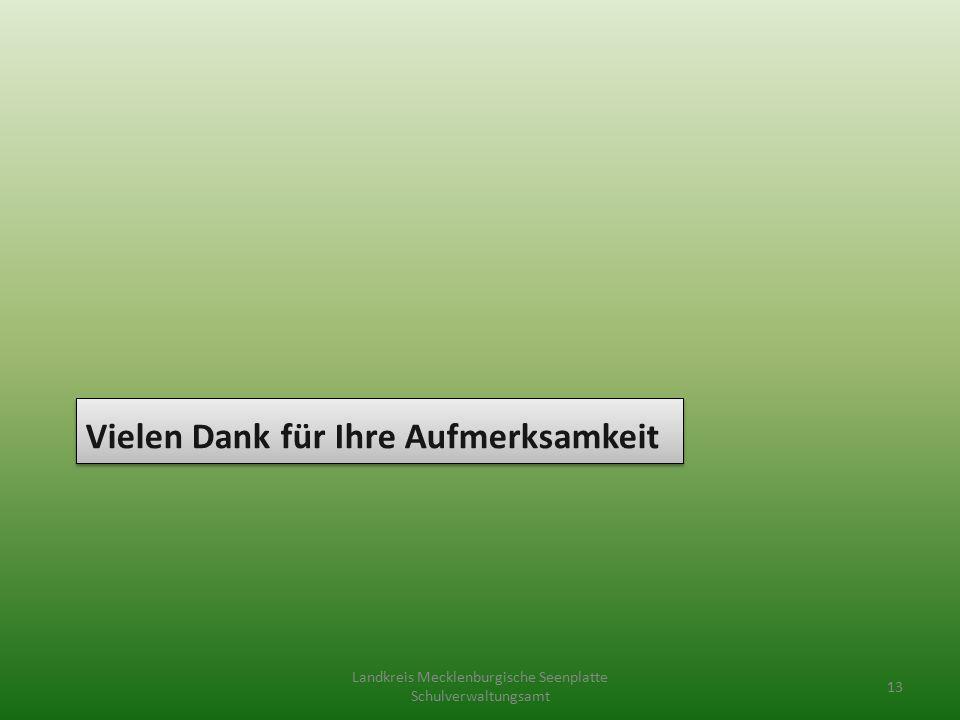 Vielen Dank für Ihre Aufmerksamkeit Landkreis Mecklenburgische Seenplatte Schulverwaltungsamt 13