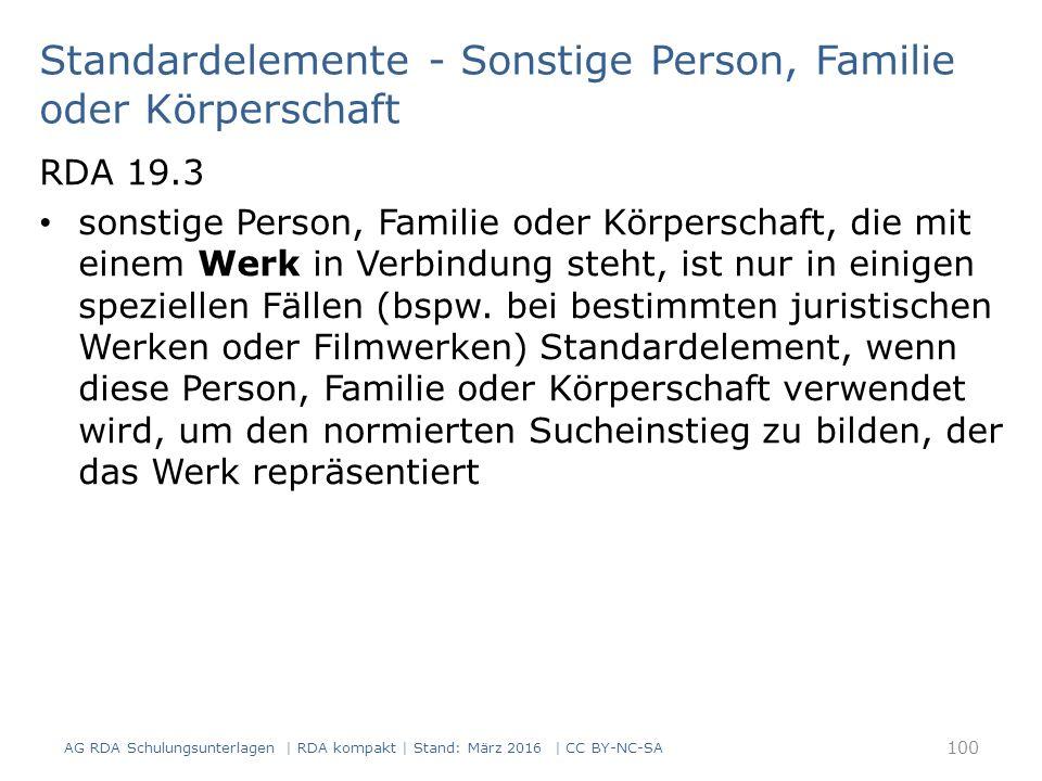 Standardelemente - Sonstige Person, Familie oder Körperschaft RDA 19.3 sonstige Person, Familie oder Körperschaft, die mit einem Werk in Verbindung st