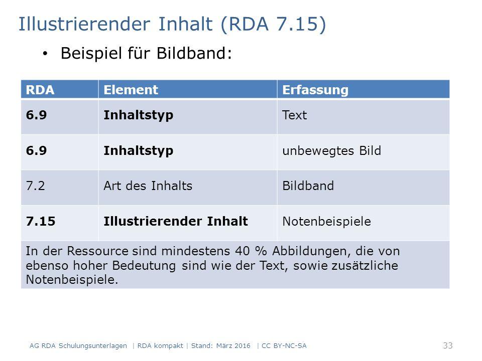 Illustrierender Inhalt (RDA 7.15) RDAElementErfassung 6.9InhaltstypText 6.9Inhaltstypunbewegtes Bild 7.2Art des InhaltsBildband 7.15Illustrierender In