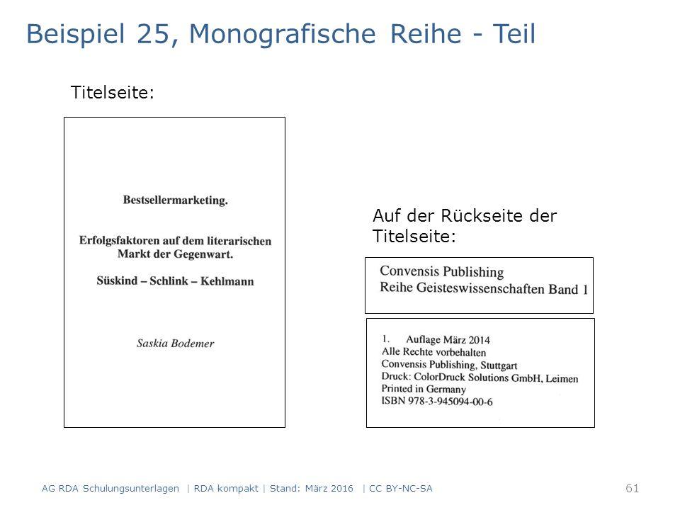 Beispiel 25, Monografische Reihe - Teil Titelseite: Auf der Rückseite der Titelseite: AG RDA Schulungsunterlagen | RDA kompakt | Stand: März 2016 | CC