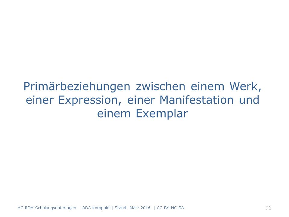 Primärbeziehungen zwischen einem Werk, einer Expression, einer Manifestation und einem Exemplar 91 AG RDA Schulungsunterlagen | RDA kompakt | Stand: M