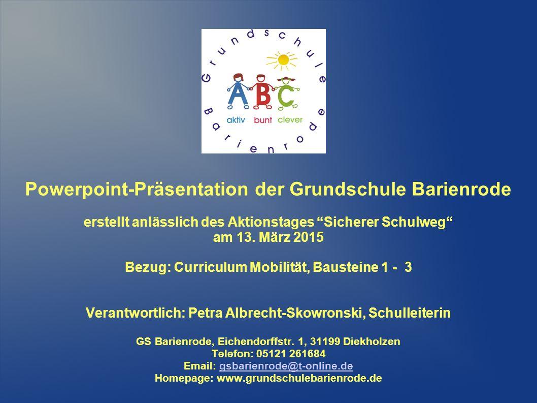 Powerpoint-Präsentation der Grundschule Barienrode erstellt anlässlich des Aktionstages Sicherer Schulweg am 13.