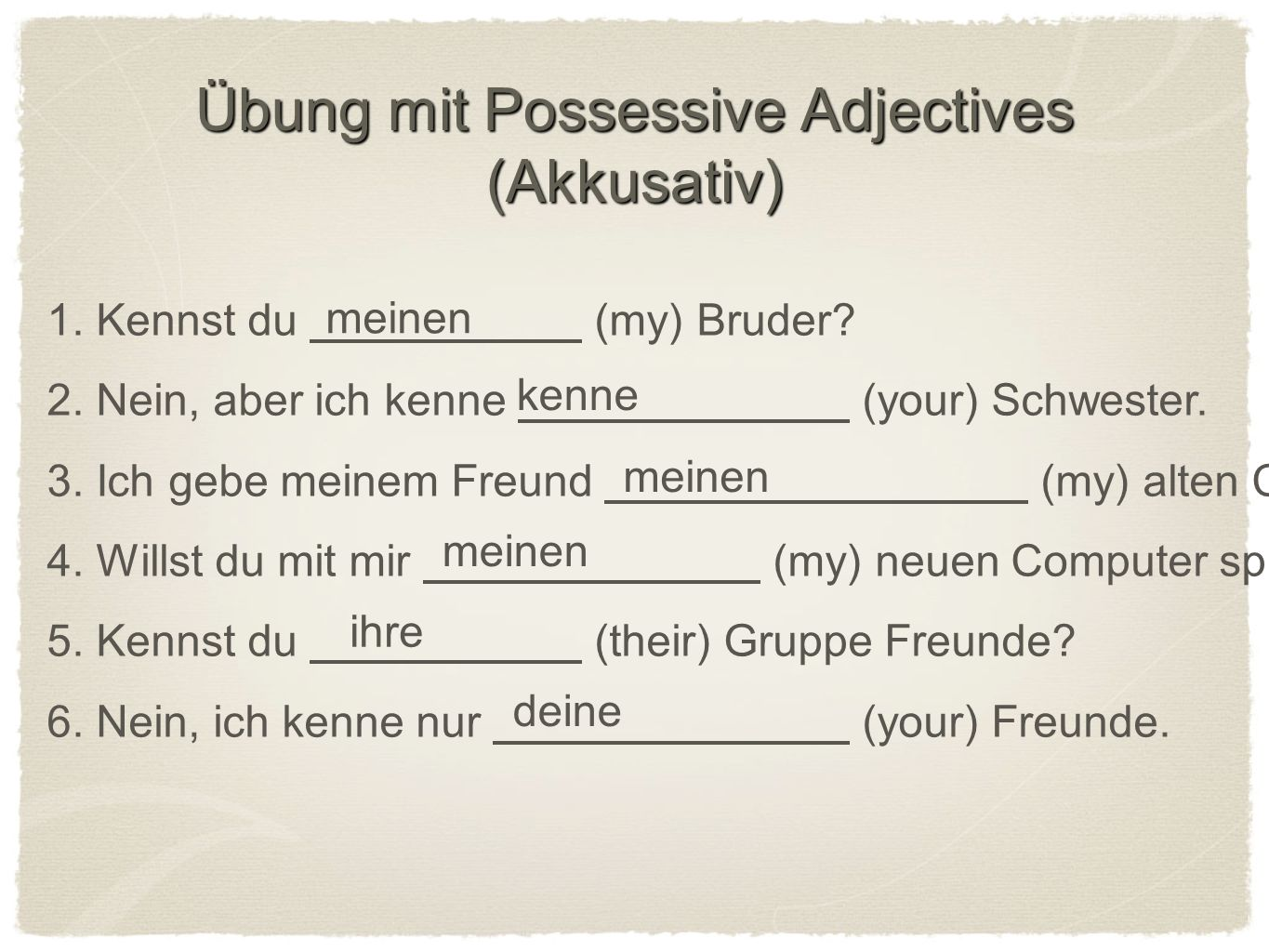 Fehler zu suchen (mistakes to look for) 1.Adjective endings 2.