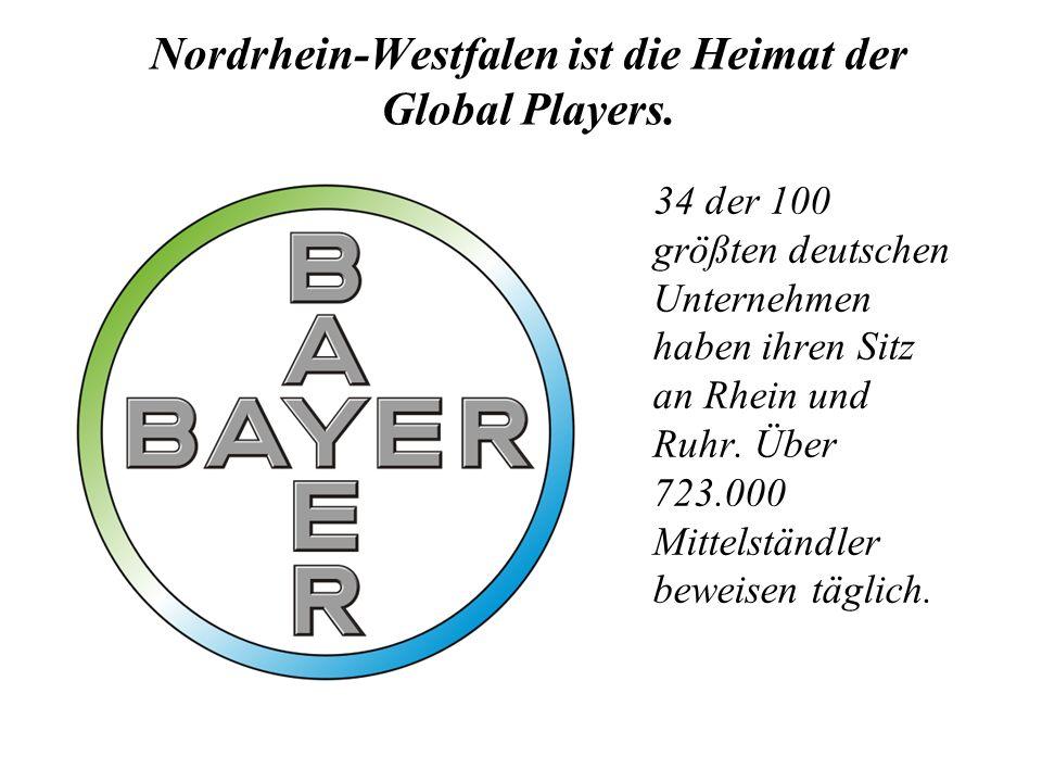Nordrhein-Westfalen ist die Heimat der Global Players. 34 der 100 größten deutschen Unternehmen haben ihren Sitz an Rhein und Ruhr. Über 723.000 Mitte