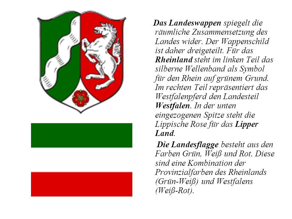 Das Landeswappen spiegelt die räumliche Zusammensetzung des Landes wider. Der Wappenschild ist daher dreigeteilt. Für das Rheinland steht im linken Te