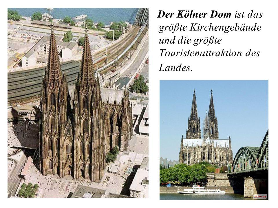 Der Kölner Dom ist das größte Kirchengebäude und die größte Touristenattraktion des Landes.