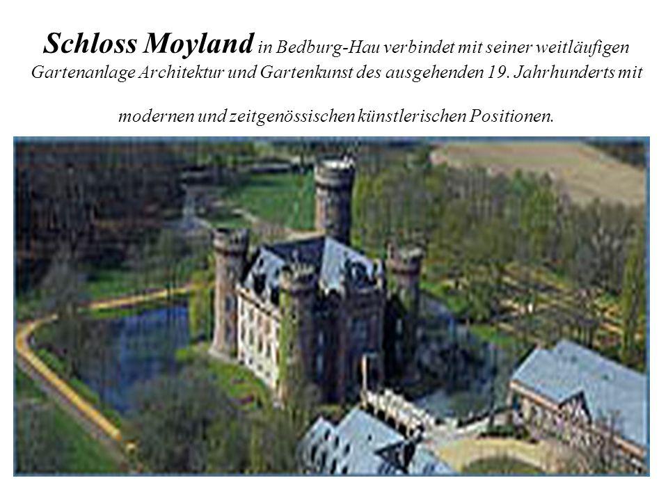 Schloss Moyland in Bedburg-Hau verbindet mit seiner weitläufigen Gartenanlage Architektur und Gartenkunst des ausgehenden 19. Jahrhunderts mit moderne