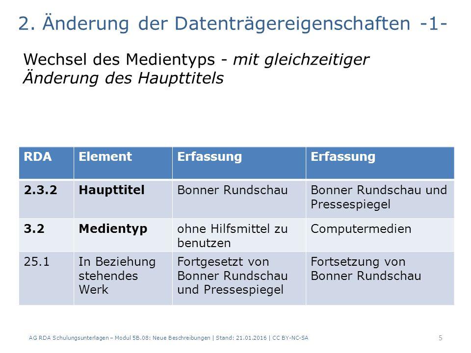AG RDA Schulungsunterlagen – Modul 5B.08: Neue Beschreibungen | Stand: 21.01.2016 | CC BY-NC-SA 6 2.