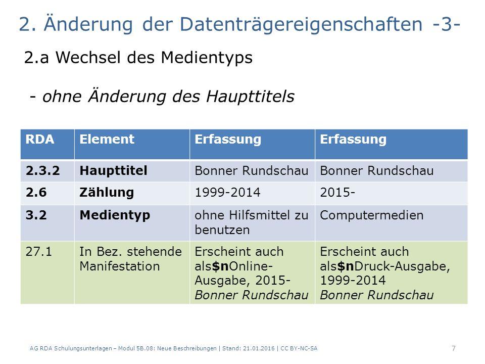 AG RDA Schulungsunterlagen – Modul 5B.08: Neue Beschreibungen | Stand: 21.01.2016 | CC BY-NC-SA 7 2.