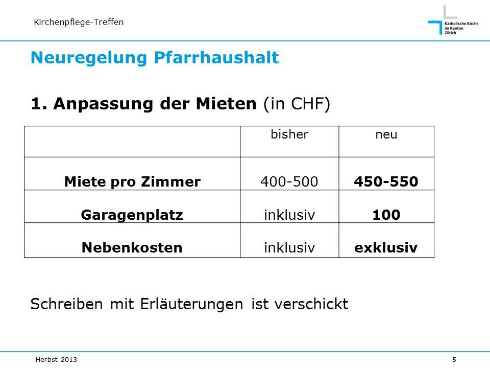 Kirchenpflege-Treffen bisherneu Miete pro Zimmer400-500450-550 Garagenplatzinklusiv100 Nebenkosteninklusivexklusiv Neuregelung Pfarrhaushalt 1.