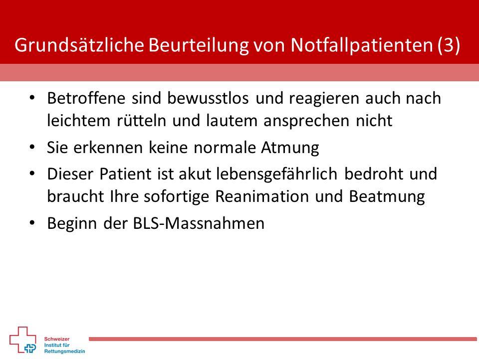 Grundsätzliche Beurteilung von Notfallpatienten (3) Betroffene sind bewusstlos und reagieren auch nach leichtem rütteln und lautem ansprechen nicht Si