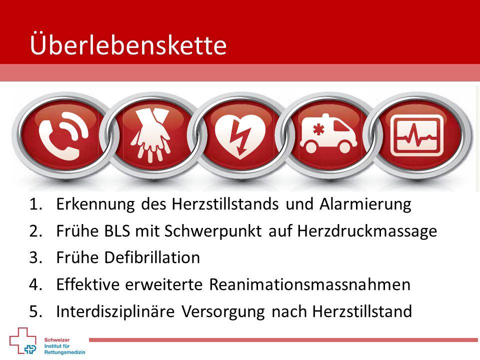 Überlebenskette 1.Erkennung des Herzstillstands und Alarmierung 2.Frühe BLS mit Schwerpunkt auf Herzdruckmassage 3.Frühe Defibrillation 4.Effektive er