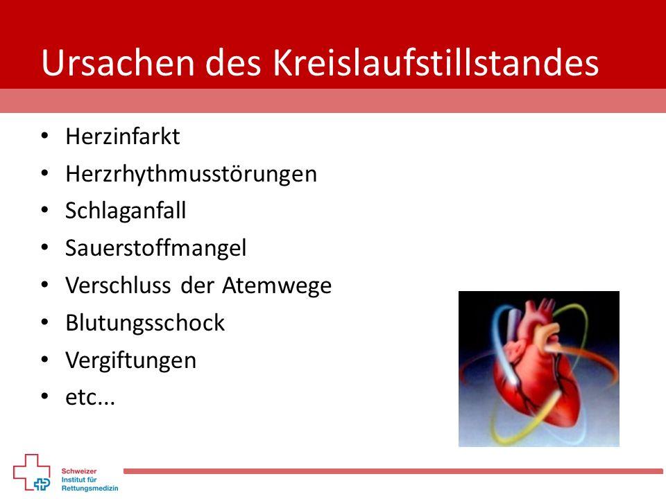 Ursachen des Kreislaufstillstandes Herzinfarkt Herzrhythmusstörungen Schlaganfall Sauerstoffmangel Verschluss der Atemwege Blutungsschock Vergiftungen