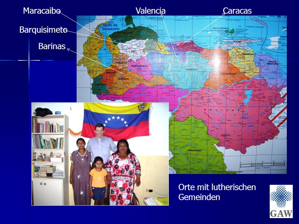 Maracaibo Barquisimeto Caracas Barinas Valencia Orte mit lutherischen Gemeinden