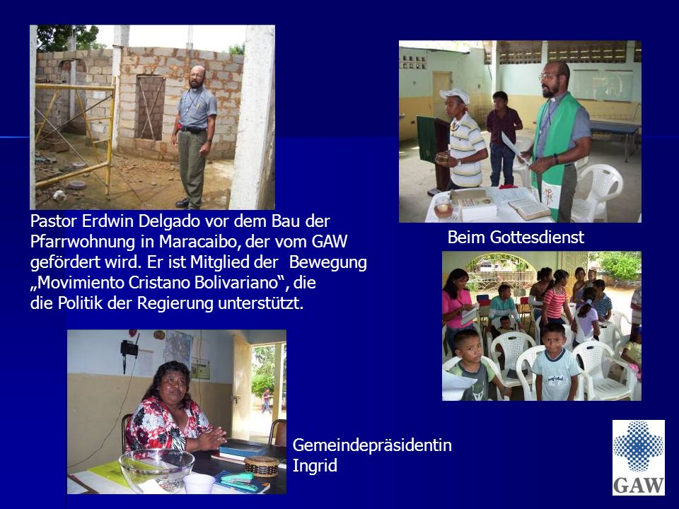 Pastor Erdwin Delgado vor dem Bau der Pfarrwohnung in Maracaibo, der vom GAW gefördert wird.