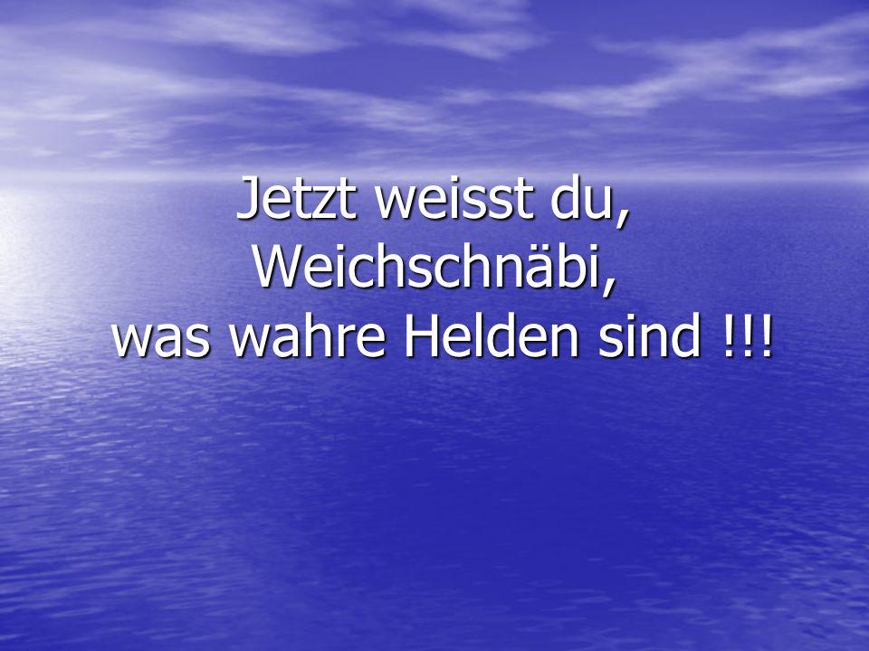 Jetzt weisst du, Weichschnäbi, was wahre Helden sind !!!