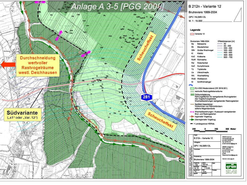 """Anlage A 3-5 [PGG 2008] Südvariante (""""s1"""" oder """"Var. 12"""") Durchschneidung wertvoller Rastvogelräume westl. Deichhausen Scheucheffekt 281"""