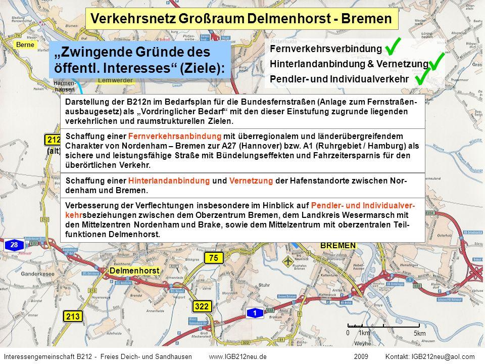 Quelle: Niedersächsische Landesbehörde für Straßenbau und Verkehr, Geschäftsbereich Oldenburg Interessengemeinschaft B212 - Freies Deich- und Sandhausen www.IGB212neu.de 2009 Kontakt: IGB212neu@aol.com Verkehrszahlen Starke Belastung von Delmenhorst Deichhausen Prognose 2025 B212n Südvariante Deich- hausen B212n Südvar.