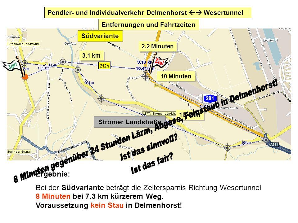 Ergebnis: Bei der Südvariante beträgt die Zeitersparnis Richtung Wesertunnel 8 Minuten bei 7.3 km kürzerem Weg. Voraussetzung kein Stau in Delmenhorst