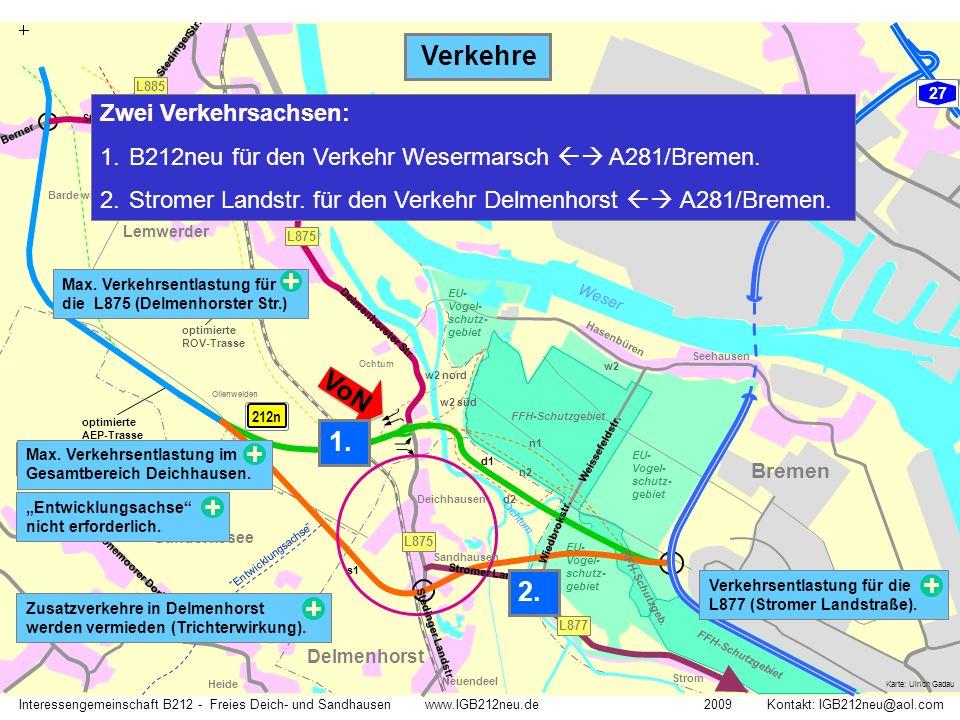 """GVZ Weser Ochtum ROV- Trasse AEP-Trasse optimierte AEP-Trasse optimierte ROV-Trasse 212n n1 d1 d2 n2 w2 w2 nord w2 süd s1 """"Vorzugsvariante"""" """"Entwicklu"""