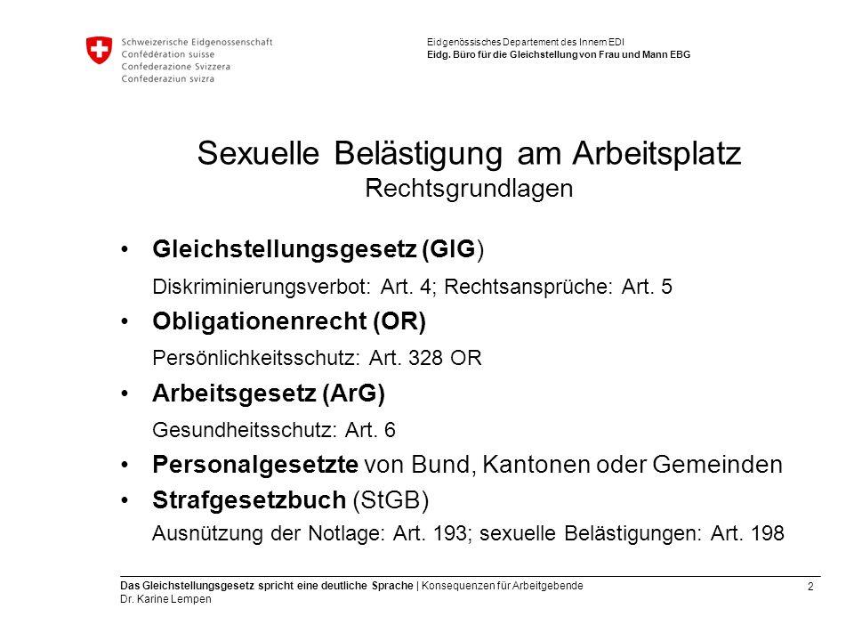 2 Das Gleichstellungsgesetz spricht eine deutliche Sprache | Konsequenzen für Arbeitgebende Dr.